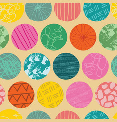 doodle circle seamless abstract repeat pattern vector image