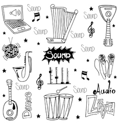Doodle of trditional music tools vector