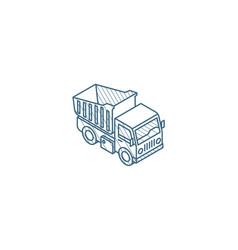 dump truck isometric icon 3d line art technical vector image