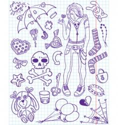 Emo doodles vector