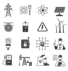 Energy power black icons set vector