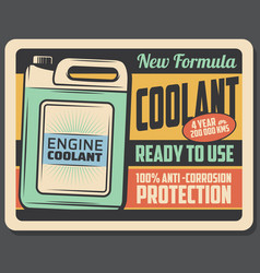 Engine coolant retro poster car maintenance vector