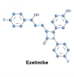 Ezetimibe lowers plasma cholesterol levels vector image