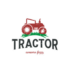 farming tractor logo design template in red color vector image