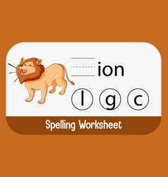 Find missing letter with lion vector