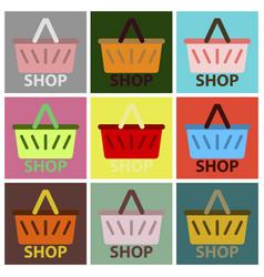 Flat icons set basket shop vector