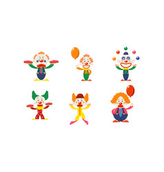 flat set of clowns in different actions vector image