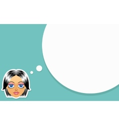 Girl face with think bubble vector