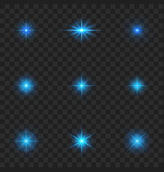 glow light color blue starburst with sparkles vector image