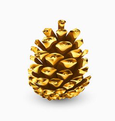 Gold pine cone gilded pine cone golden christmas vector