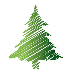 green drawing pine tree christmas ornament image vector image