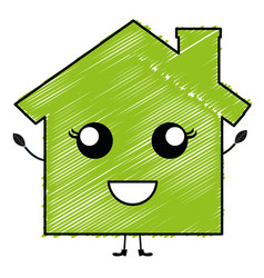 Green house kawaii character vector