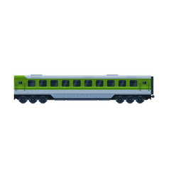green train passenger wagon railroad vector image