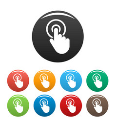 hand cursor click icons set color vector image