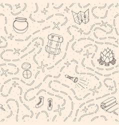 hand drawn camping seamless pattern travel vector image