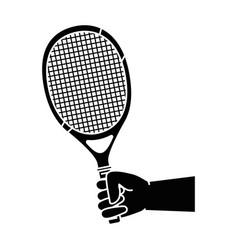 hand human with tennis racket vector image vector image