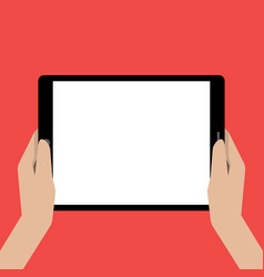 hands holing tablet computer with a white screen vector image