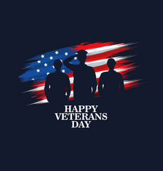 Happy veterans day celebration with military vector