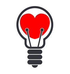 Heart in a Lightbulb vector image