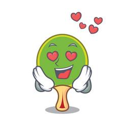 In love ping pong racket mascot cartoon vector