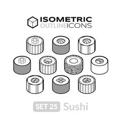 Isometric outline icons set 25 vector image