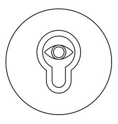 Keyhole eye looking lock door look concept icon vector