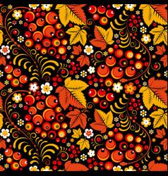 khokhloma seamless pattern in slavic folk style vector image