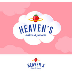 Logo bakery cream pastry cloud nimbus strawberry vector