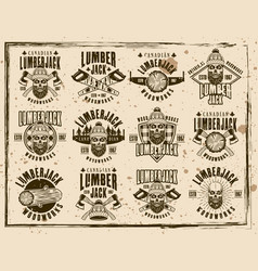Lumberjack and woodworks emblems vector