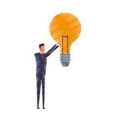 Man and lightbulb idea icon image vector