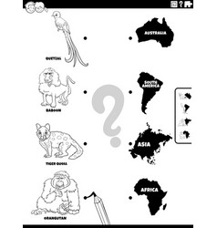 match animals and continents coloring book page vector image