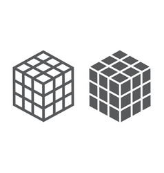 Math cube line and glyph icon block vector