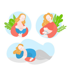 Mother during breastfeeding twins vector