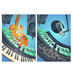 music fest cartoon posters with electric guitar vector image