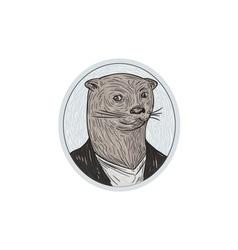Otter Head Blazer Shirt Oval Drawing vector