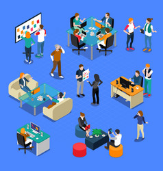 people coworking isometric set vector image