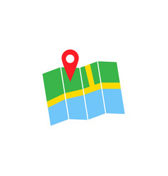 Pin with map solid icon navigation and location vector