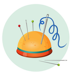 Pincushion with needles and pins or thimbles vector