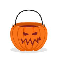 Pumpkin basket empty for halloween horrible vector