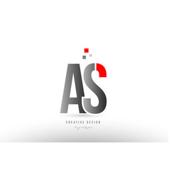 red grey alphabet letter as a s logo combination vector image