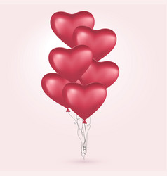 red hearts flying bunch red balloons happy vector image