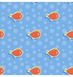 seamless sea pattern with smiling red fish vector image