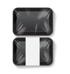 Set of black rectangle blank styrofoam plastic vector