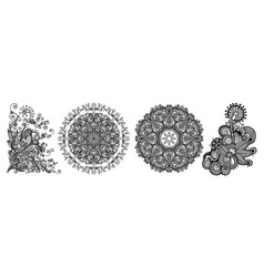 set of circle lace decorative ornament vector image