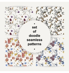 Set of hand drawn doodle seamless patterns vector image
