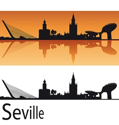 Seville Skyline in orange background vector image