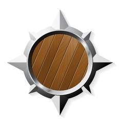 Shield from steel and wood in star shape isolated vector image