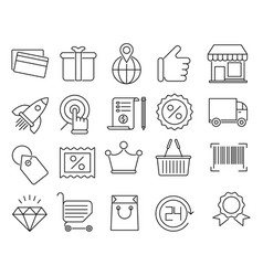 Shopping and retail outline icons vector