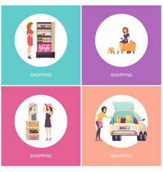 shopping women in stores shoes and hats vector image