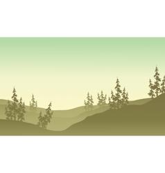 Silhouette of spruce in fields scenery vector